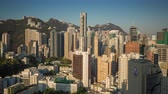 HONG KONG - MAY 2018: Morning sunriserooftop timelapse view of Wan Chai disrtict, city from above.