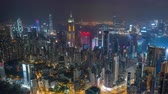 HONG KONG - MAY 2018: Aerial timelapse view of Causeway Bay and Wan Chai disrtict, city from above at night.