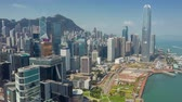 distrito financeiro : HONG KONG - MAY 2018: Aerial view of Central district and Victoria Bay, residential and office buildings and skyscrapers