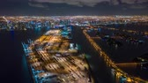 dodge : MIAMI, FLORIDA, USA - JANUARY 2019: Aerial drone panorama view flight over Miami at night. Aero dronelapse in 4K.