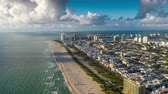 hotel : MIAMI, FLORIDA, USA - JANUARY 2019: Aerial hyperlapse 4k drone panorama view flight over Miami beach ocean coastline. Stock Footage
