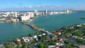 benátský : Aerial drone panorama view flight over Miami. Venetian Islands from above.