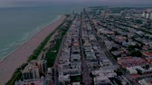 flyover : MIAMI, FLORIDA, USA - JANUARY 2019: Aerial drone panorama view flight over South Miami beach ocean coastline.