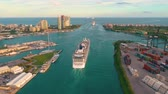 부두 : MIAMI, FLORIDA, USA - JANUARY 2019: Aerial drone view flight over Miami sea port. Ships and cruise liners at the pier.