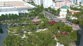 beautiful building : MIAMI, FLORIDA, USA - JANUARY 2019: Aerial drone panorama view flight over Miami beach Soundscape city park.