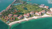 hotel : MIAMI, FLORIDA, USA - MAY 2019: Aerial drone view flight over Miami beach. South Beach and Fisher island from above.