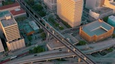 trafik : MIAMI, FLORIDA, USA - MAY 2019: Aerial drone view flight over Miami downtown. Road viaduct and overpass from above.