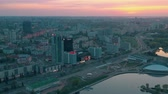 maj : MINSK, BELARUS - MAY, 2019: Aerial drone shot view of Nemiga and Pobeditelei avenue, city centre from above