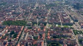 centro : ZAGREB, CROATIA - MAY, 2019: Aerial view drone shot of Zagreb city from above.