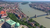 hungria : BUDAPEST, HUNGARY - MAY, 2019: Aerial drone view of Budapest city historical centre with beautiful architecture.
