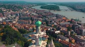 budapeşte : BUDAPEST, HUNGARY - MAY, 2019: Aerial drone view of Budapest city historical centre with beautiful architecture.