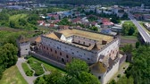 beautiful building : Aerial view of castle in slovak town Zvolen surrounded by mountains.