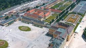 monarşi : VIENNA, AUSTRIA, - JUNE 2019: Aerial view of Schonbrunn Palace, former imperial summer residence, tourist attraction.