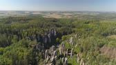 чешский : Aerial drone view of a beautiful landscape of National Park Cesky Raj near Prague. Стоковые видеозаписи