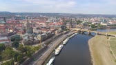 socha : DRESDEN, GERMANY - JUNE, 2019: Aerial panorama drone view of Dresden historical city centre.