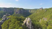 park : Bastei Park in Saxony, Germany, wonderful aerial drone panorama view. Stock Footage