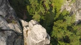 восхождение : Bastei Park in Saxony, Germany, wonderful aerial drone panorama view. Стоковые видеозаписи