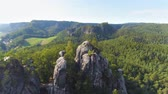 dresden : Bastei Park in Saxony, Germany, wonderful aerial drone panorama view. Stock Footage