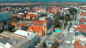 havadan görünüş : Aerial view of slovak town Zvolen during a city holiday