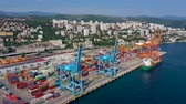 háztetők : RIJEKA, CROATIA - MAY, 2019: Aerial view drone shot of Rijeka city port on Adriatic Sea shore.