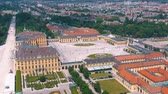monarşi : VIENNA, AUSTRIA, - JUNE 2019: Aerial view of former imperial summer residence, tourist attraction.