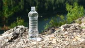 순백의 : Bottle of clean water stands on rock, on mountain area. Theme of health and ecology