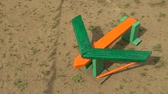 školka : Colored wooden childrens airplane on the playground. HD
