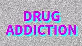 narkotik : Drug Addiction. Word about medicine problem on noisy screen. Loop VHS interference.