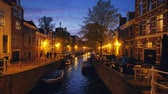 Canal and houses in the evening. Haarlem, Netherlands Vídeos