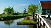 Zaanse Schans village in Holland. Zaandam, Netherlands Стоковые видеозаписи
