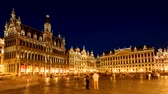 Brussels bruxellesGrote Markt (Grand Place) square night timelapse, Belgium