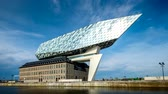 mimar : Port authority house (Porthuis) designed by famous Zaha Hadid Architects. Antwerp, Belgium Stok Video