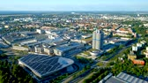 fabrika : Aerial view of BMW Museum and BWM Welt in Munich, Germany Stok Video