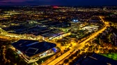 Aerial view of BMW Museum and BWM Welt in Munich, Germany Стоковые видеозаписи