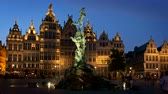 Antwerp famous Brabo statue and fountain at night