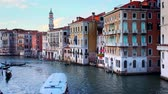Grand Canal with boats and gondolas on sunset, Venice, Italy Стоковые видеозаписи