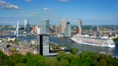 hollanda : View of Rotterdam city and the Erasmus bridge Stok Video