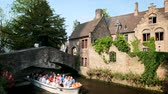 gothic : Tourist boat in canal in Bruges, Belgium