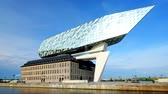 Antwerp port administration headquarters, designed by famous iranian architect Zaha Hadid, Antwerpen, Belgium Stok Video