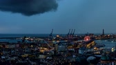faro : Evening timelapse of Genoa port with thunderstorm, Italy