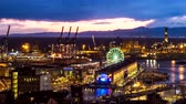 faro : Evening timelapse of Genoa port, Italy