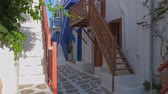 Киклады : Walking in Mykonos street on Mykonos island, Greece