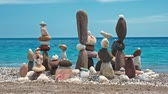 stacking : Concept of balance and harmony. - stone stacks on the beach