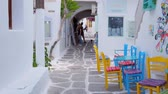 Walking in Naousa street on Paros island, Greece Stok Video