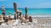 group of towers : Concept of balance and harmony. - stone stacks on the beach
