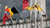 gotic : Flag of Flanders and Belgium flag on old building
