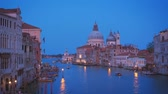 hour : View of Venice Grand Canal and Santa Maria della Salute church in the evening