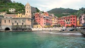 world heritage site : Vernazza village, Cinque Terre, Liguria, Italy Stock Footage