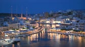 Beautiful Agios Nikolaos town on lake Voulismeni at night. island Crete, Greece