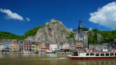 View of Dinant city over the Meuse river. Dinant, Belgium Stok Video